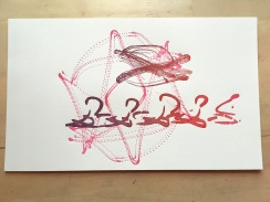 "Space Harmony Reimagined 14 Lithographic Print on Archival Paper15""x9""$75"