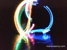 The light patterns of a the dimensional movement within a sun salutation. The blue tracks feet and the rainbow colors track hands.